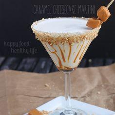 Caramel Cheesecake Martini Recipe Desserts, Beverages with vanilla vodka, caramel vodka, half & half, fat, graham crackers, caramel sauce, honey, candy