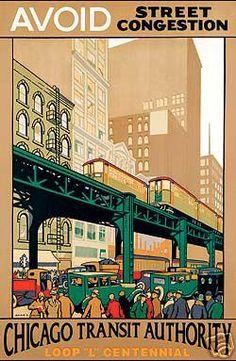 CTA Chicago Transit Authority 1926 by Johnson vintage railroad travel poster   eBay