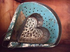 ~Antique Cheese Mold Heart in an Old Blue Painted Colander~