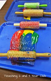 Teaching 2 and 3 Year Olds: Preschool Painting with Rolling Pins