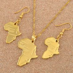 Anniyo Africa Map Jewelry set Pendant Necklaces Earrings Gold Color Map of African Ethiopian Nigeria Sudan Congo sets The product is gold plated or silver plated,no real pure gold or silver Packing: bag NO GIFT BOX NOTICE: Product size or color Gold Earrings, Gold Necklace, Pendant Necklace, Africa Map, Cheap Necklaces, Congo, Jewelry Sets, Choker, Handmade Jewelry