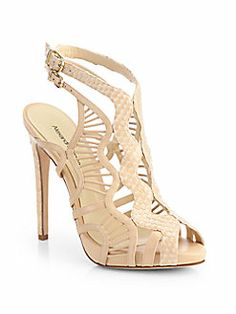 Alexandre Birman - Python & Leather Cutout Sandals