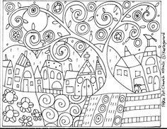 Tapete do gancho de papel Padrão Polka Dot Igreja Abstract Folk Arte Primitiva