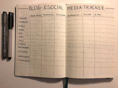 Bullet Journal Tracker, Bullet Journal Ideas Pages, Book Journal, Moleskine, Bullet Journal Hand Lettering, Social Media Tracker, Social View, Blog, Brush Lettering