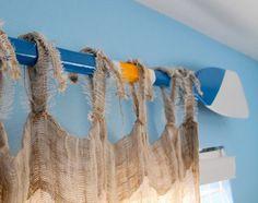 Custom Nautical Painted Oar Decorative Window Curtain Rod Valance or Wall Decor Paddle