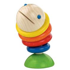 This brightly coloured smooth wooden clutching toy is fantastic.  Moby the fish rattles and swivels when shaken and stands up on his tail. It features coloured discs that are attached to a hidden rubber band that makes it move just like a swimming fish.