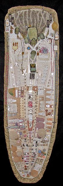 """Diane Savona Reliquary """"This piece was constructed almost entirely from my mother's old underwear, wig, religious items.on wooden ironing board? Sculpture Textile, Textile Fiber Art, Textile Artists, Textiles, Map Art, Embroidery Art, Fabric Art, Altered Art, Creations"""