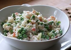 Shrimp Salad Recipe with Rice, Peas, and Celery