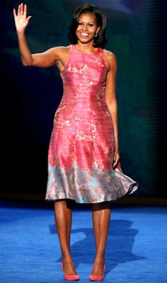 Michelle Obama in Tracy Reese at the Democratic National Convention on September 4, 2012 in Charlotte, North Carolina