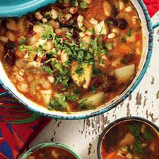 SPICY SAMP AND BEAN SOUP- not the traditional type I know, but sounds yummy!