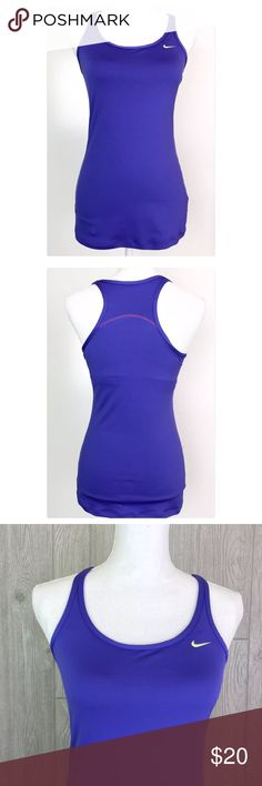 "Nike Fit Dry Racerback Fitness Tank Small Purple Womens NIKE Fit Dry Sports Tank, racerback with built in shelf bra. Purple with yellow logo swish on chest. Tag Size: Small  Measurements: Underarm to underarm: 15.5"" Length in front, from shoulder seam to bottom hem: 25.5"" Nike Tops Tank Tops"