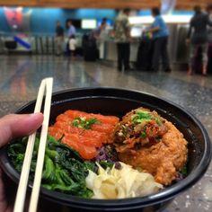 A #Hawaiian #FoodPornFriday entry: Yummy #Kimchee #SpicyAhi and #Salmon #Sashimi bowl w/awesome #BlackRice. $9.95 at #AhiLovers. Way better than #AirportFood!