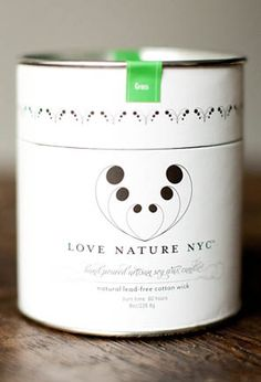 Candle package design by INK+WIT for Love Nature, NYC