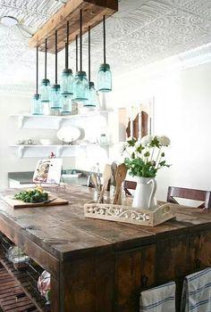 Mason jar light chandelier. Wooden island.