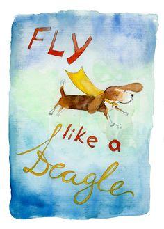 Fly Like a Beagle (greeting card). $3.00, via Etsy.