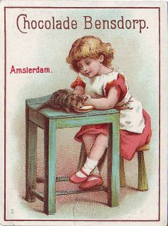 ♥ chocolade bensdorp - girl feeding kitten a bowl of milk on a table -2