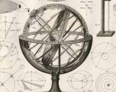 1851 Antique Steel Engraving of Celestial Spheres. Plate 6