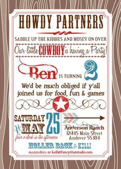 Boy Cowboy Birthday Party Invitation Custom Printable Cowboy
