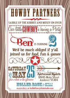 Cowboy Birthday Party Printables Buckaroo by FancyThatStudio, $24.50