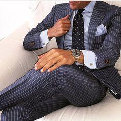 men suits blue -- Click visit link above to see Best Suits For Men, Cool Suits, Mens Fashion Suits, Mens Suits, Men's Fashion, Suit Combinations, Look Formal, Pinstripe Suit, Dapper Men