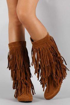 Moccasin Fringe Boots … | Pinteres…