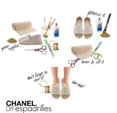 """DIY Chanel Espadrilles"" by niquearie ❤ liked on Polyvore"