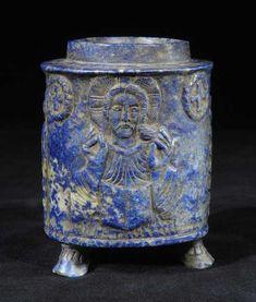 Byzantine Lapis Lazuli Pyxis - Origin: Central Europe Circa: 900 AD to 1100 AD  Collection: Byzantine Art Medium: Lapis Lazuli