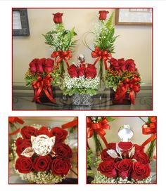 We helped to set up a marriage proposal with several red rose arrangements. In addition to the ones you see here, there were several larger arrangements. They were all set up in a hotel room before she arrived to make the moment magical. One of the arrangements contained a silver rose ring holder, which held the engagement ring. The romance factor in this one is second to none!