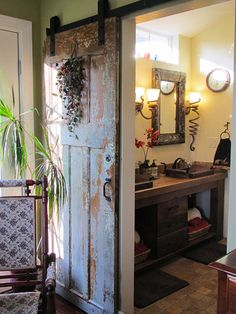 Design Trend: Farmhouse Chic - Reclaimed wood, aged metals, and distressed details. . .Farmhouse Chic decor has a soft elegance with a rustic edge – perfect for dressing up a small cottage or a Craftsman bungalow. http://houseplansblog.dongardner.com/design-trend-farmhouse-chic/ #House #Plans #Blog