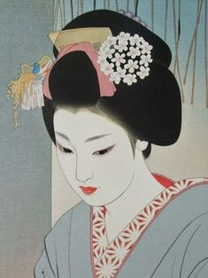 Shimura tatsumi (1907-1980)  is known for designing several striking bijin-ga prints towards the end of the shin hanga movement. Born in Takasaki, Gunma, his real name was Sentaro. Shimura devoted his career to Nihonga ( japanese style-painter):