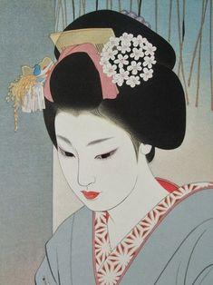 Shimura tatsumi (1907-1980)  is known for designing several striking bijin-ga prints towards the end of the shin hanga movement. Born in Takasaki, Gunma, his real name was Sentaro. Shimura devoted his career to Nihonga ( japanese style-painter):