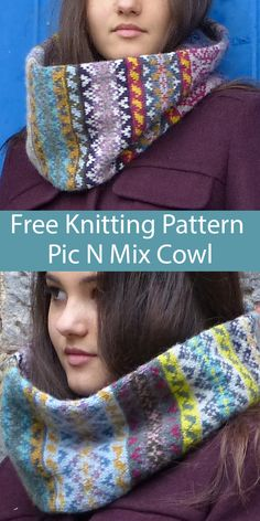 Free Knitting Pattern for Pic N Mix Cowl for Stashbusting or Mini Skeins – papuca Baby Knitting Patterns, Knitting Stitches, Free Knitting, Motif Fair Isle, Fair Isle Pattern, Tejido Fair Isle, Knitted Shawls, Knitting Projects, Crochet