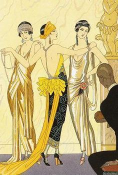Art Deco influences became popular in the when the geometric lines of many garments can be seen to echo Art Deco style lines. Art Deco fashion can be observed in many fabric prints, embroideries, beaded decorations, and jewelry. Arte Art Deco, Moda Art Deco, Estilo Art Deco, Art Deco Era, 1920s Art Deco, Art Deco Illustration, Arte Fashion, Art Deco Fashion, Fashion 1920s