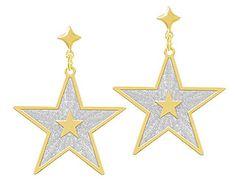Brinco folheado a ouro em forma de estrela c/ aplique de prata Código: BS2443