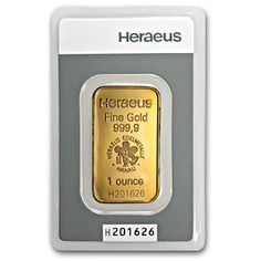 An efficient way to aquire Gold bullion, this Gold Bar from Heraeus in Switzerland is an ideal choice for investors wanting to increase their Gold holdings. This 1 oz Gold bar is guaranteed .9999 fine and comes to you packed in an assay card that authenticates the Gold metal purity and weight.