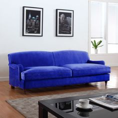 Mid Century Modern Sophisticated Large Blue Brush Microfiber Sofa with Casters #AhFurniture #Modern