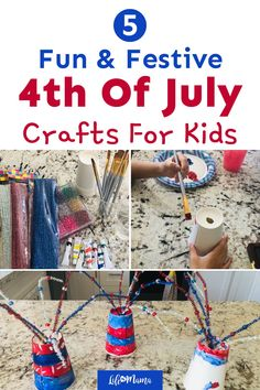 Looking for something fun to do with the kids this summer? These 5 fun and festive 4th of July crafts are the perfect way to have a blast at home while creating patriotic decorations. | #lifeasmama #4thofjuly #july4th #diy #crafts #holiday #patriotic Outside Activities For Kids, Summer Activities For Kids, Easy Crafts For Kids, Summer Crafts, Kid Crafts, Diy For Kids, Fun Activities, Holiday Crafts, 4th Of July Celebration