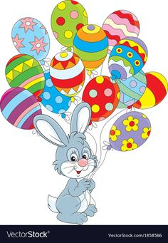 Easter Bunny with balloons vector image on VectorStock Easter Art, Easter Crafts, Easter Eggs, Easter Bunny Pictures, Images Of Easter, Happy Easter Wishes, Easter Messages, Kids Room Wallpaper, Colourful Balloons