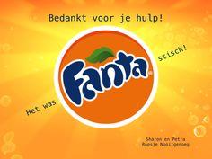 Deze wikkel hebben we om een blikje Fanta gedaan om de hulpouders te bedanken voor hun hulp.