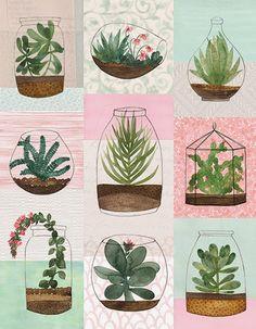 Natalie Ryan, An Inside Garden Cactus Illustration, Pattern Illustration, Floral Illustrations, Watercolor Plants, Watercolor Art, Inside Garden, Plant Drawing, Aesthetic Art, Doodle Art