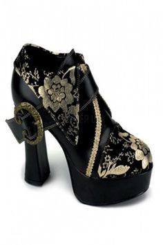 Black Gold Faux Leather Floral Embroidery Heels