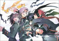 Lavi, Lenalee, Kanda, and Allen together. ^-^ With Lavi glomping (?) Kanda...hope you live Lavi...