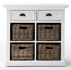 NovaSolo Halifax Pure White Mahogany Wood Sideboard Dining Buffet With 2 Drawers And 4 Rattan Baskets Mahogany Sideboard, Sideboard Buffet, White Buffet, Dining Buffet, Rattan Basket, Baskets, Furniture Decor, Kitchen Furniture, Traditional Decor