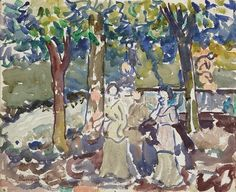 Maurice Prendergast - ''By the Stream'', watercolor