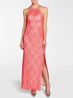 """Laura Petites: for women 5' 4"""" and under. Laura Petites. Halter neck. Shimmering lace. Side slit trim. Back zip with hook"""
