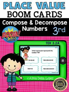 These 3rd Grade Place Value Compose and Decompose Numbers to Ten Thousand are a great review for your students. There are 10 interactive task BOOM Cards  with questions similar to STAAR wording. They are great for a math review!!! Hope you enjoy them!!! TEK 3.2A Compose and decompose numbers up to 100,000 as a sum of so many ten thousands, so many thousands, so many hundreds, so many tens, and so many ones using objects, pictorial models, and numbers, including expanded notations as…