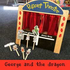 Puppet theatre retelling the story of St George Childcare Activities, Nursery Activities, Castles Topic, World Theatre Day, Traditional Fairy Tales, Dragon Nursery, British Values, Castle Project, Saint George And The Dragon