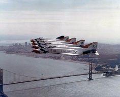 USAF Thunderbird F-4 Phantom II's over the Golden Gate Bridge in the 1970's