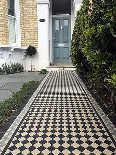 Bespoke bin store driveway grey colour path tile planting front garden privacy London Dulwich Balham Clapham Contact anewgarden for more information Victorian Front Garden, Victorian Homes, Victorian Mosaic Tile, Bin Store, Garden Privacy, Boundary Walls, Front Gardens, London Garden, Front Yard Fence