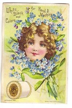 VTC - J & P Coats Thread  - Girl in Forget me Not Wreath 1887